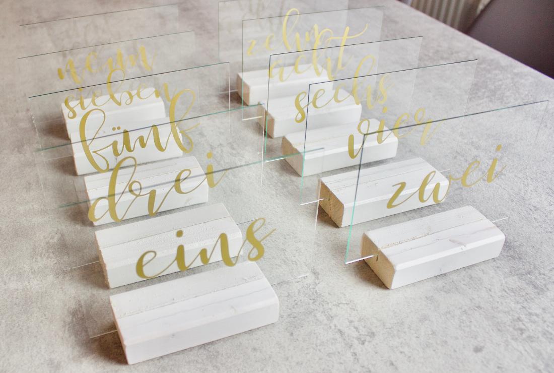 Tischnummer aus Glas selber machen